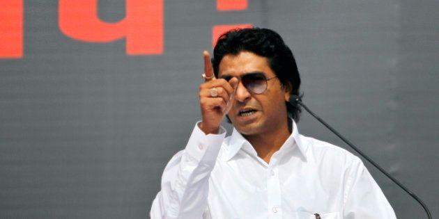 Raj Thackeray, leader of local political party Maharashtra Navnirman Sena (MNS), addresses his supporters...