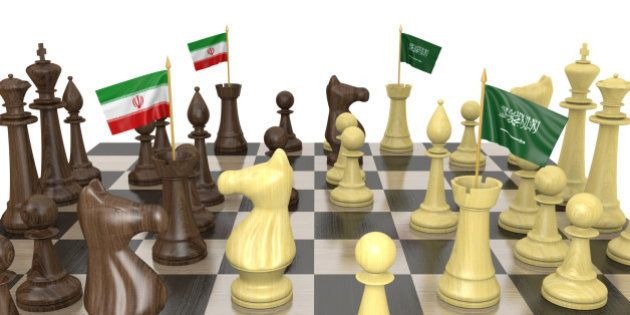 Foreign policy strategy concept of a chess board with rooks carrying national flags for Iran and Saudi