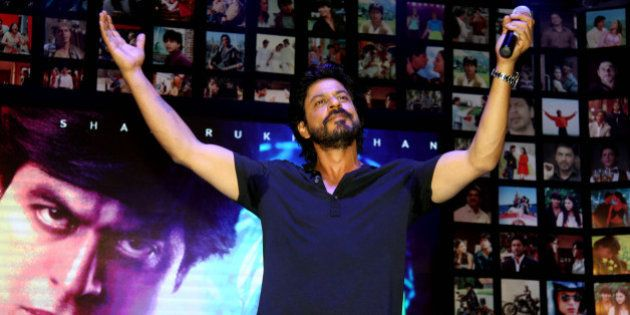 Indian Bollywood actor Shah Rukh Khan poses during the trailer launch of his forthcoming Hindi film Fan...