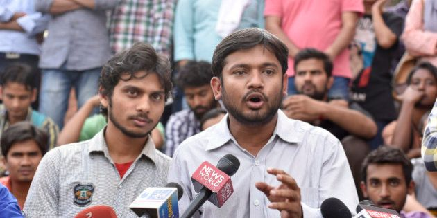 NEW DELHI, INDIA - MARCH 18: Students' Union President Kanhaiya Kumar addresses the media at the JNU...