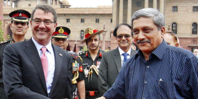 NEW DELHI, INDIA - JUNE 3: US Defense Secretary Ashton Carter shakes hand with Defence Minister Manohar...