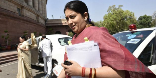 NEW DELHI, INDIA - MARCH 9: Union HRD Minister Smriti Irani at Parliament House on March 9, 2016 in New...