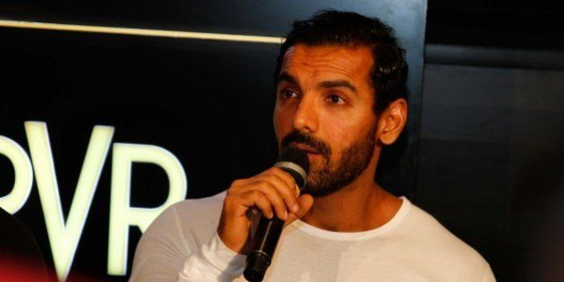 GREATER NOIDA, INDIA MARCH 27: Bollywood actor John Abraham during the launch of Logix City Center and...