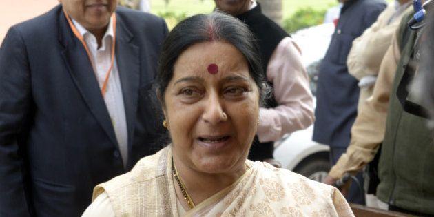 DELHI, INDIA FEBRUARY 29: Sushma Swaraj during Budget Session of Parliament in New Delhi.(Photo by Yasbant...