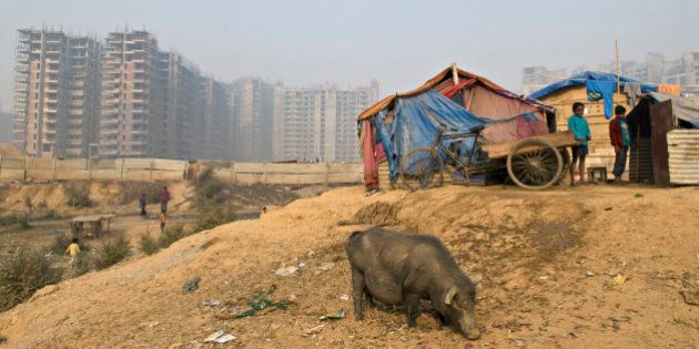 India, Haryana, Gurgaon, new town, poverty