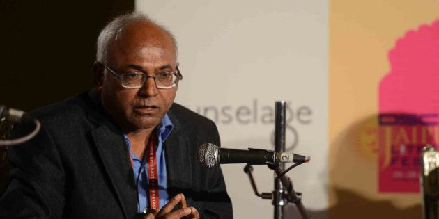 JAIPUR, INDIA - JANUARY 28: Activist and author Kancha Ilaiah speaks at Jaipur Literature Festival in...