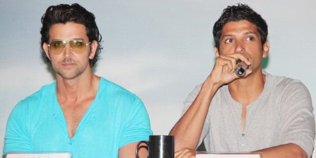MUMBAI, INDIA - MAY 15: Hrithik Roshan and Farhan Akhtar during a press conference to unveil the first...