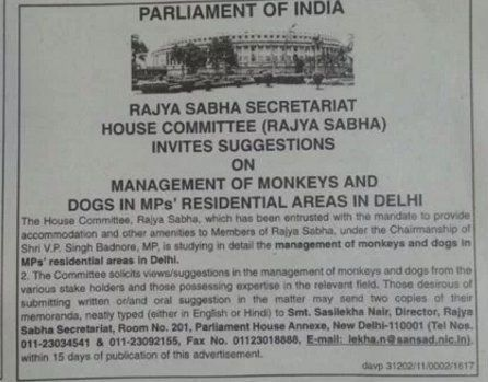 Rajya Sabha MPs Have A Major Monkeys And Dogs Problem, Seek Help Through Newspaper