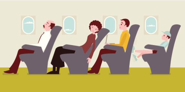 Economy class passengers on the airplane: The man in the yellow sweater getting frustrated with the woman...