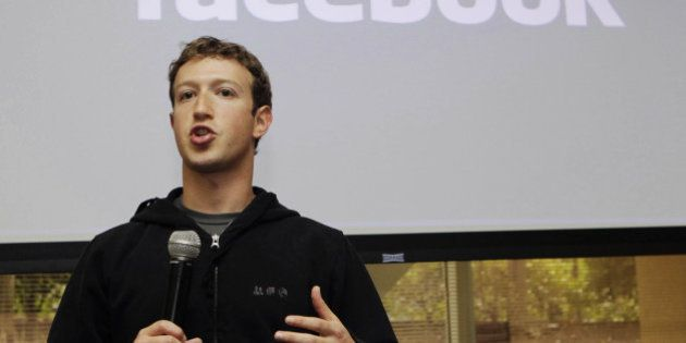 FILE - In this May, 26, 2010 file photo, Facebook CEO Mark Zuckerberg talks about the social network...