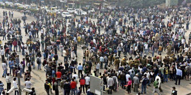 NEW DELHI, INDIA - FEBRUARY 20: Delhi University students from the Jat community protest at Kingsway...