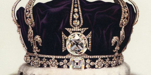 Vintage illustration of the State Crown of Queen Mary, Consort of George V, part of the Crown Jewels...