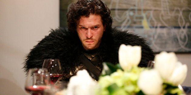 LATE NIGHT WITH SETH MEYERS -- Episode 0188 -- Pictured: Kit Harrington as Jon Snow during the 'Game...