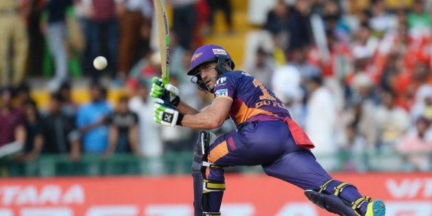 Rising Pune Supergiants Faf Du Plesis plays a shot during the 2016 Indian Premier League (IPL) Twenty20...
