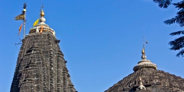 Dome of the temple of Lord Trimbakeshwar (Three-eyed Shiva) in Trimbak. It is one of most important Shiva...
