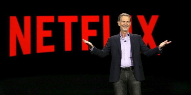 Reed Hastings, co-founder and CEO of Netflix, delivers a keynote address at the 2016 CES trade show in...