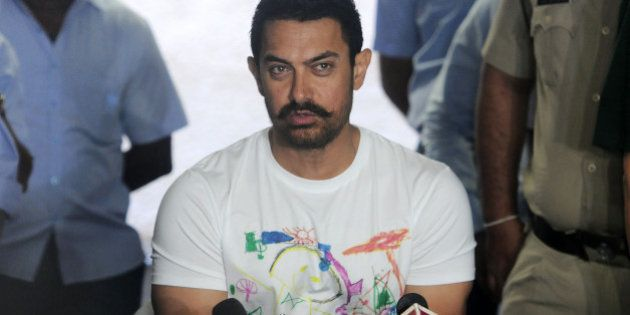 MUMBAI, INDIA MARCH 14: Aamir Khan celebrates his 51th birthday with the media at his residence at Bandra...