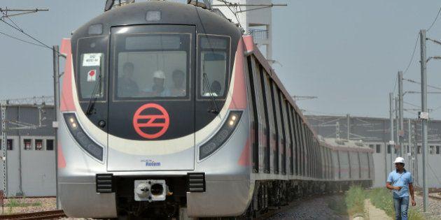 NEW DELHI, INDIA APRIL 06: An view of Delhi Metro's new Hyundai Rotem train ready for operations in Mukundpur...