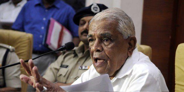 INDORE, INDIA - JUNE 27: Madhya Pradesh Home Minister Babulal Gaur addressing a press conference at police...