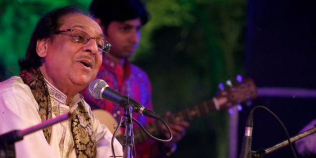In this Saturday, Oct. 10, 2015 photo, Pakistani singer Ghulam Ali performs during a concert in Lucknow,...