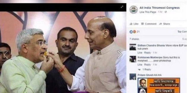 TMC Left Red Faced After Posting Morphed Photo Of Rajnath Singh Feeding Sweets To Prakash