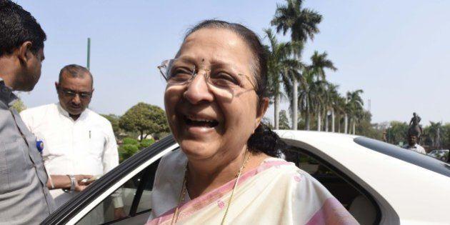 NEW DELHI, INDIA - MARCH 8: Speaker of the Lok Sabha Sumitra Mahajan during the Parliament Budget Session...