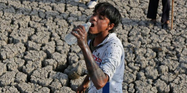 An Indian man drinks water as he removes dead fish and tries to rescue the surviving ones from the Vastrapur...