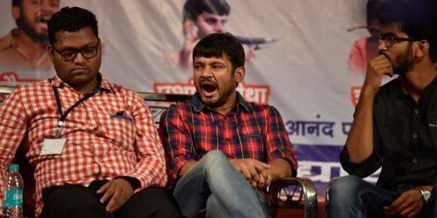 MUMBAI, INDIA - APRIL 23: JNU Students Union leader Kanhaiya Kumar with Zuhail K.P. (R), Hyderabad University...