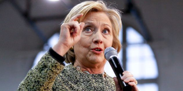 FILE - In this April 6, 2016 file photo, Democratic presidential candidate Hillary Clinton speaks in...