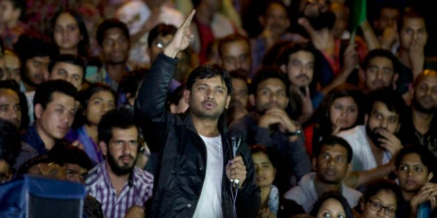 Jawaharlal Nehru University student union leader Kanhaiya Kumar makes a speech to fellow students after...