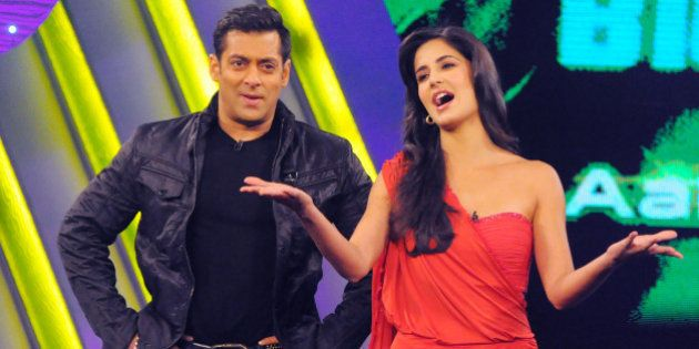 MUMBAI, INDIA - DECEMBER 17: Salman Khan and Katrina Kaif on the sets of Bigg Boss Season 4. Katrina...