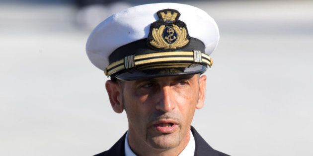 FILE - In this Dec. 22, 2012 file photo Italian marine Massimiliano Latorre talks to media after arriving...