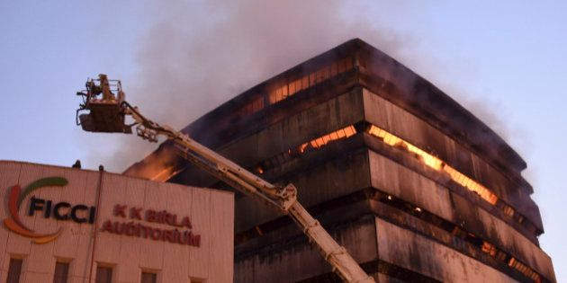 NEW DELHI, INDIA - APRIL 26: The National Museum of Natural History is seen engulfed in fire at Mandi...
