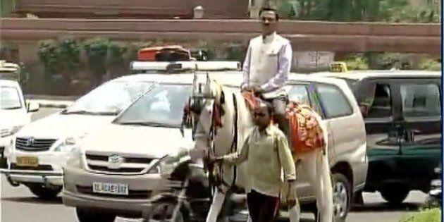 Odd-Even 2.0: BJP MP Ram Prasad Sharma Rides A Horse To The
