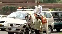 BJP MP Ram Prasad Sharma Rides A Horse To The Parliament To Protest Odd-Even