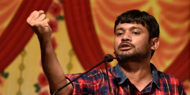 MUMBAI, INDIA - APRIL 23: JNU Students Union leader Kanhaiya Kumar speaks during a Joint Students Youth...