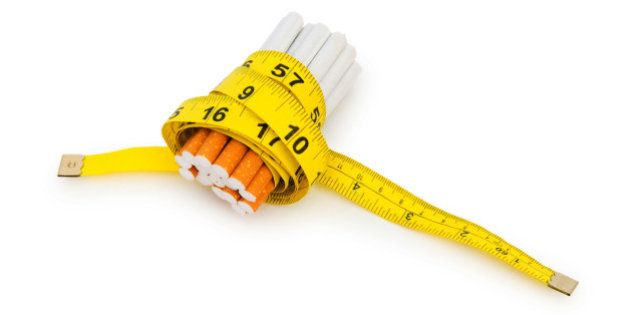 Smoking concept with measuring tape and