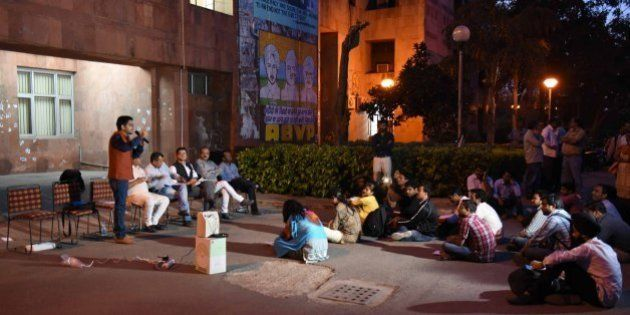 NEW DELHI, INDIA - MARCH 10: ABVP students of JNU during meeting in front of Admin Building at JNU Campus...