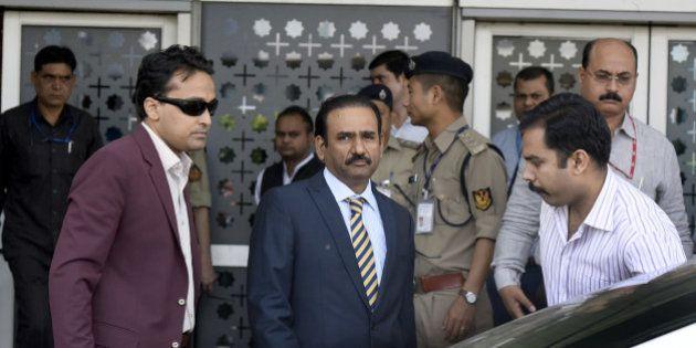 NEW DELHI, INDIA - MARCH 27: A five-member team of Pakistani investigators (JIT) arrives at T-3 airport...