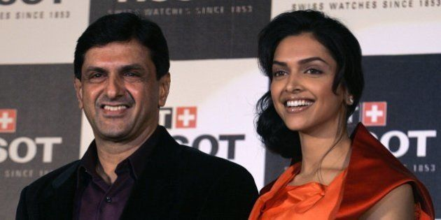Indian actress and brand ambassador of Tissot, Deepika Padukone, right, is seen with her father Prakash...