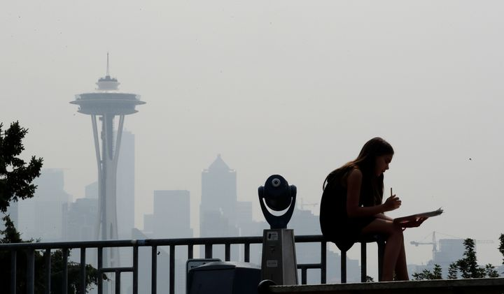 A photo shows the smoky haze that obscured the Space Needle and downtown Seattle in August 2018.