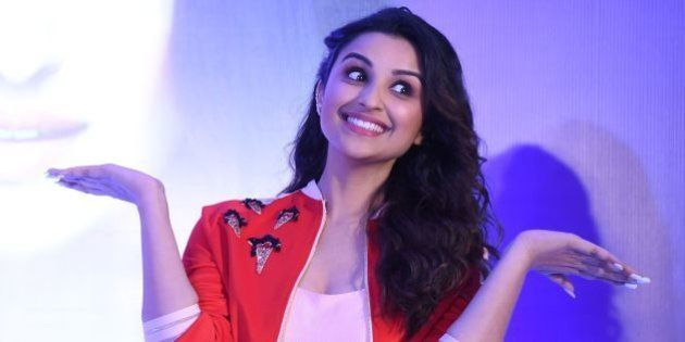 Indian Bollywood actress Parineeti Chopra gestures during a promotional event in New Delhi on April 6,...