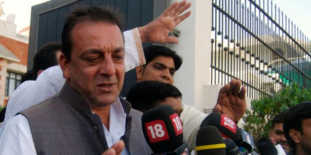 Bollywood actor Sanjay Dutt speaks with the media in the northern Indian city of Lucknow March 31, 2009....