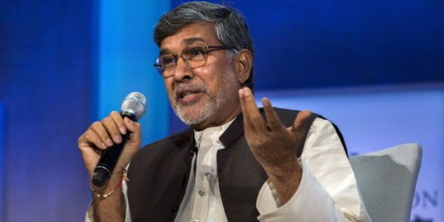 Kailash Satyarthi, 2014 Nobel Peace Prize Laureate, takes part in a panel during the Clinton Global Initiative's...