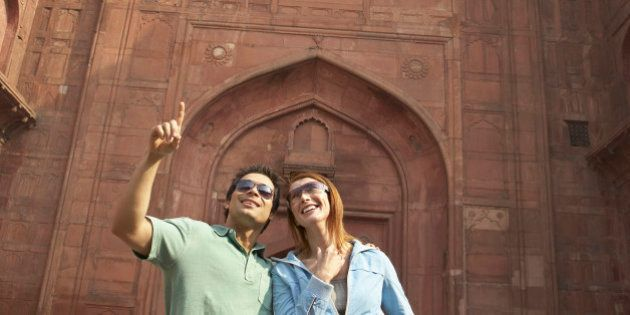 Couple admiring Red Fort, Delhi,