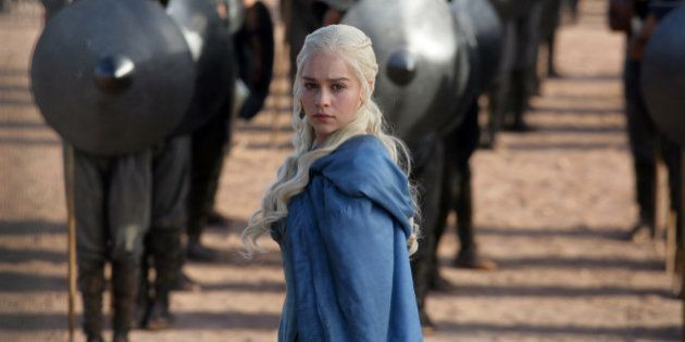 FILE - This file publicity image released by HBO shows Emilia Clarke as Daenerys Targaryen in a scene