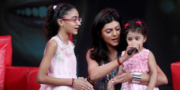MUMBAI, INDIA - APRIL 17: Indian Bollywood actor Sushmita Sen with her daughters Renee, Alisah at Raveena...