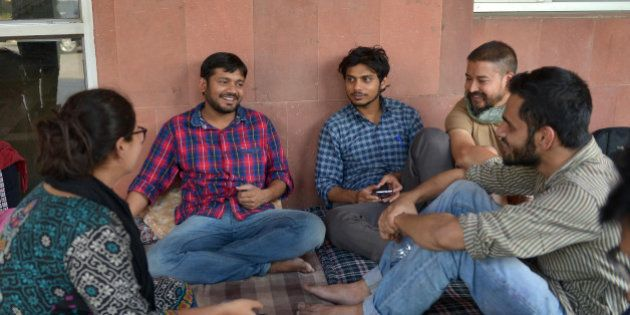 NEW DELHI, INDIA APRIL 28: JNU Students' Union President Kanhaiya Kumar, Umar Khalid along with other...