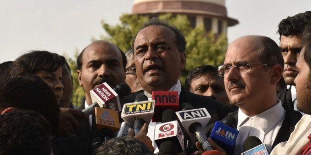 NEW DELHI, INDIA - APRIL 22: Attorney General Mukul Rohatgi and senior advocate Nalin Kohli briefing...