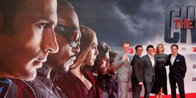 Actors Paul Bettany, Robert Downey Jr., director Anthony Russo, actress Emily van Camp and actor Daniel...